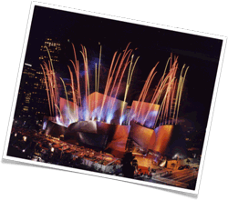 Pyro Spectaculars by Souza lights up the sky for the opening of the Disney Concert Hall in Los Angeles, CA.