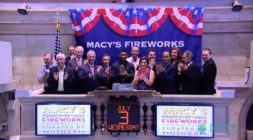 Global Superstar Usher, Macy's, and Pyro Spectacular close the trading floor at the New York Stock Exchange to celebrate the 37th Annual Macy's 4th of July Fireworks®