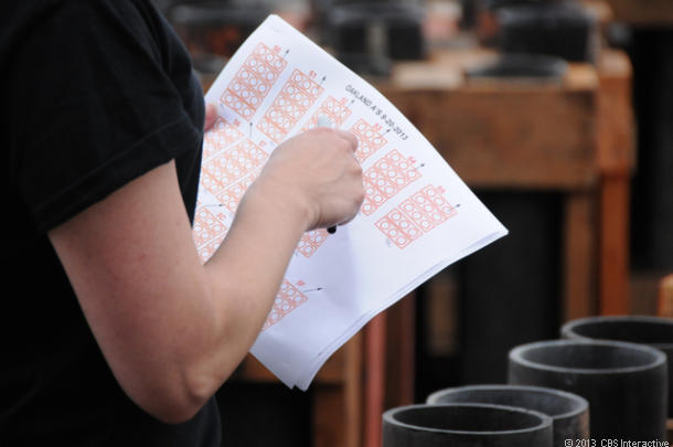 A Pyro Spectactulars crew members checks the cue sheet. (Credit: Daniel Terdiman/CNET)