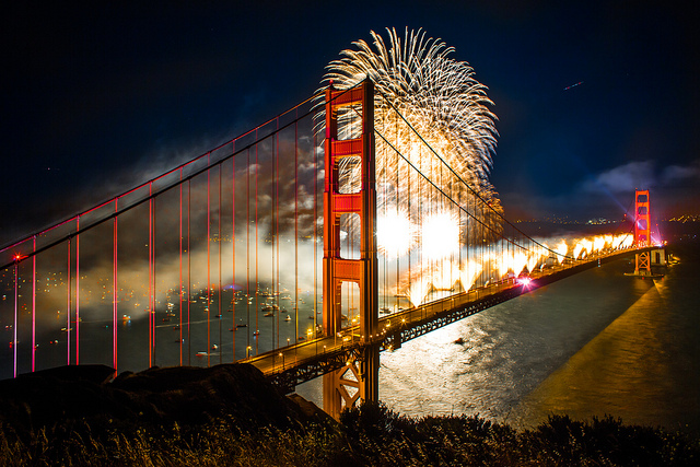 Fireworks in San Francisco come during a Spare the Air day