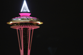 A look at the Space Needle on Tuesday night, Dec. 30, 2014. (Photo: Troy Diggs/KCPQ-TV)