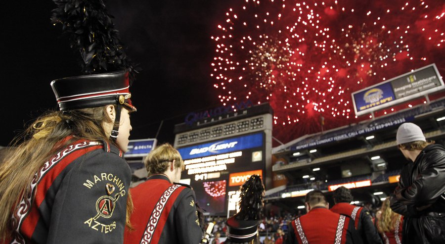 New kind of fireworks show for Poinsettia Bowl