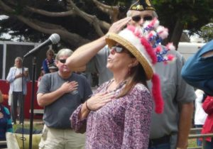 Kathleen McKinnon sings the national anthem at the 2016 Independence Day celebration in Cambria's Shamel Park. Brian Griffin
