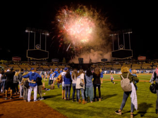 People enjoy the Friday Night Fireworks show produced by Pyro Spectaculars by Souza at Dodger Stadium. (Photo by Hans Gutknecht, Los Angeles Daily News/SCNG)