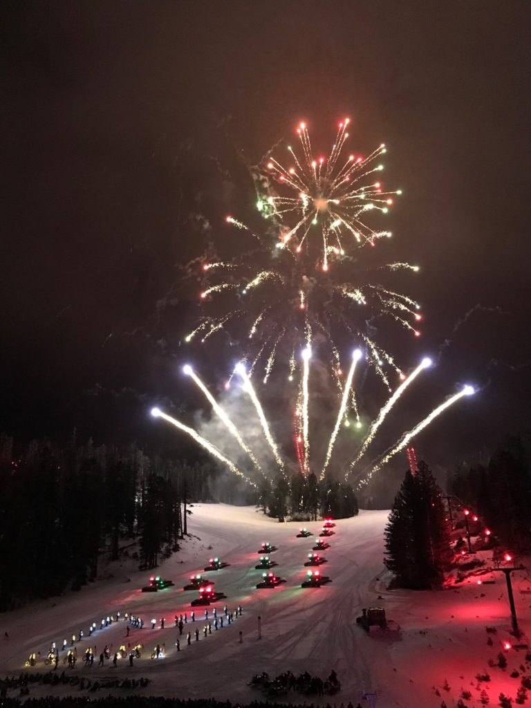 Fireworks over the slopes of Mammoth.