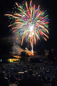 Here spectators at the El Dorado County Fairgrounds enjoy a fireworks display by the Speedway following the conclusion of the races July 4. Democrat photo by Shelly Thorene