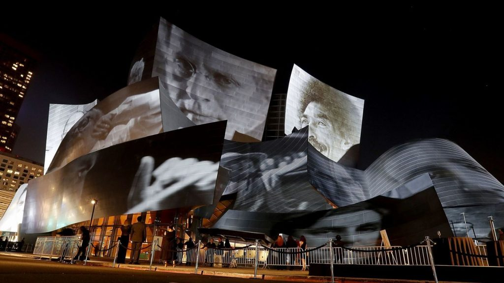 IArtwork by Refik Anadol is projected on the exterior of the Walt Disney Concert Hall during the kickoff of the L.A. Phil's centennial on Thursday, Sept. 28, 2018. (Luis Sinco / Los Angeles Times)