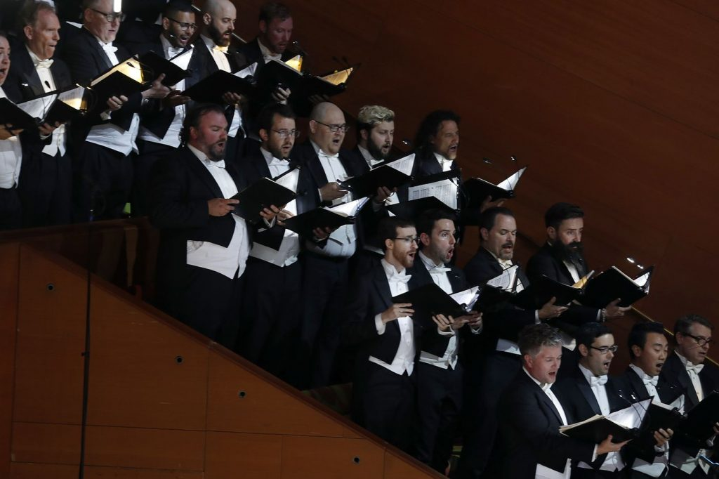 "Members of the Los Angeles Master Chrorale perform with the L.A. Phil to kick off the Phil's centennial season with a ""California Soul"" gala at the Walt Disney Concert Hall in downtown Los Angeles on Thursday, Sept. 28, 2018. (Luis Sinco / Los Angeles Times)"