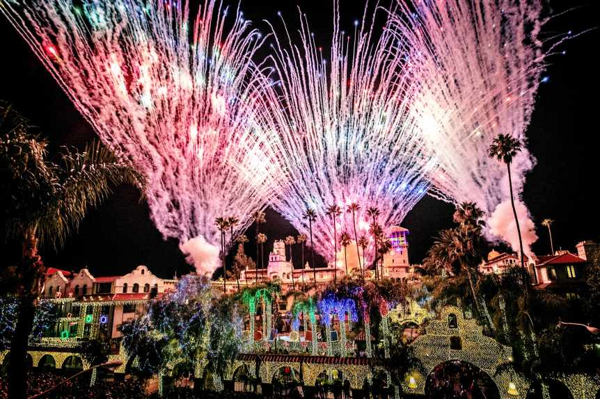 Fireworks light up the sky during the Riverside Festival of Lights switch-on ceremony at the Mission Inn in Riverside on Friday, November 23, 2018. (Photo by Watchara Phomicinda, The Press-Enterprise/SCNG)