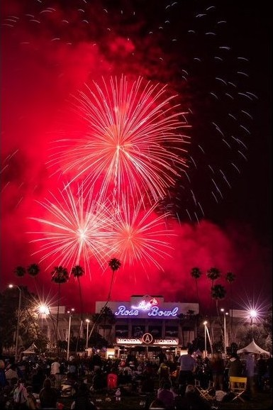 fireworks over the Rose Bowl