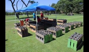 Pyro technicians set up for the Rose Bowl Americafest 2019. There will be 8,00 fireworks effects.