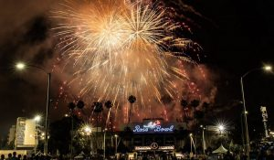 Fireworks light up the skies above the Rose Bowl