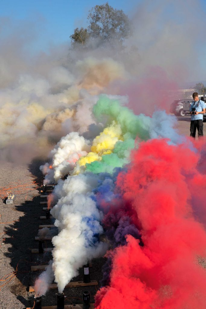 Judy Chicago Multi-color smoke test with Pyro Spectaculars by Souza in Fontana, CA. 2020 © Judy Chicago/Artists Rights Society (ARS), New York Photo © Donald Woodman/ARS, New York